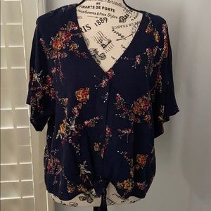 Blue navy button down short sleeve blouse